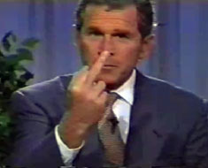 Bush flashes the bird, something aides say he does often and has been doing since his days as governor of Texas.